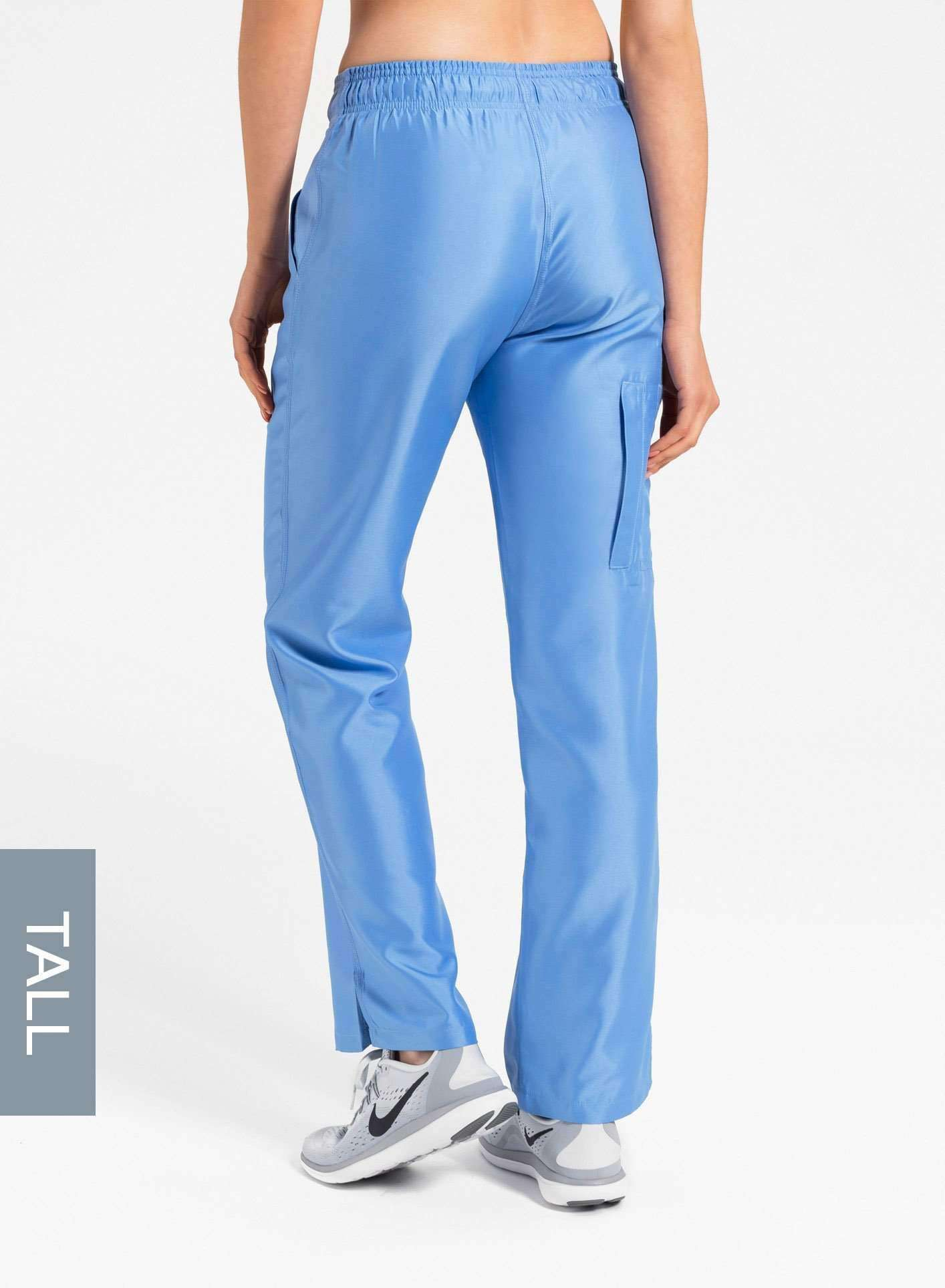 womens tall cargo pocket straight leg scrub pants ceil blue Elements back