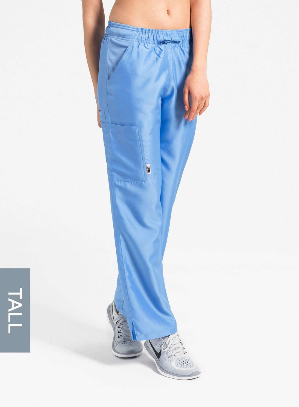 womens tall cargo pocket straight leg scrub pants ceil blue Elements front