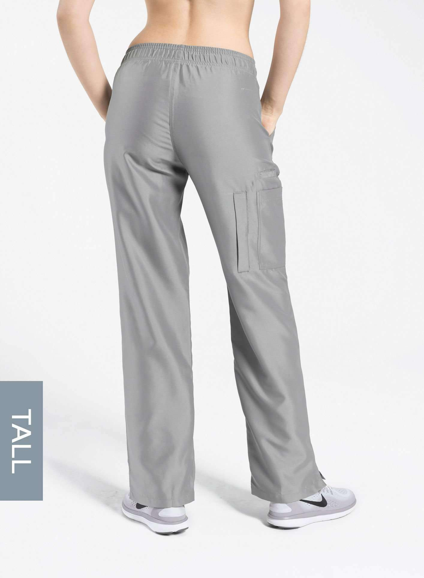 womens tall cargo pocket straight leg scrub pants light grey Elements back