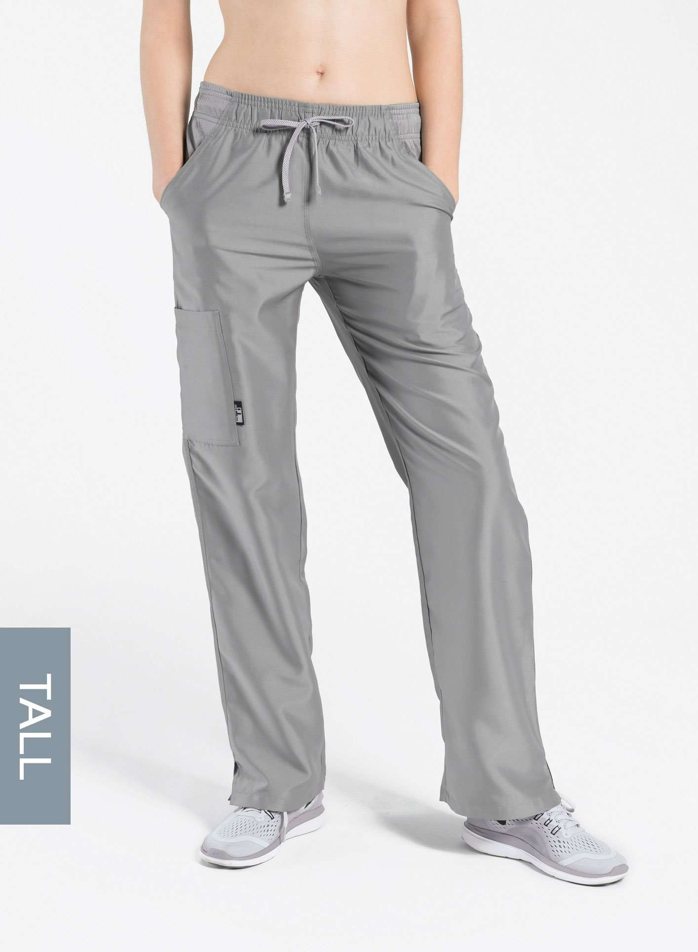 womens tall cargo pocket straight leg scrub pants light grey Elements front