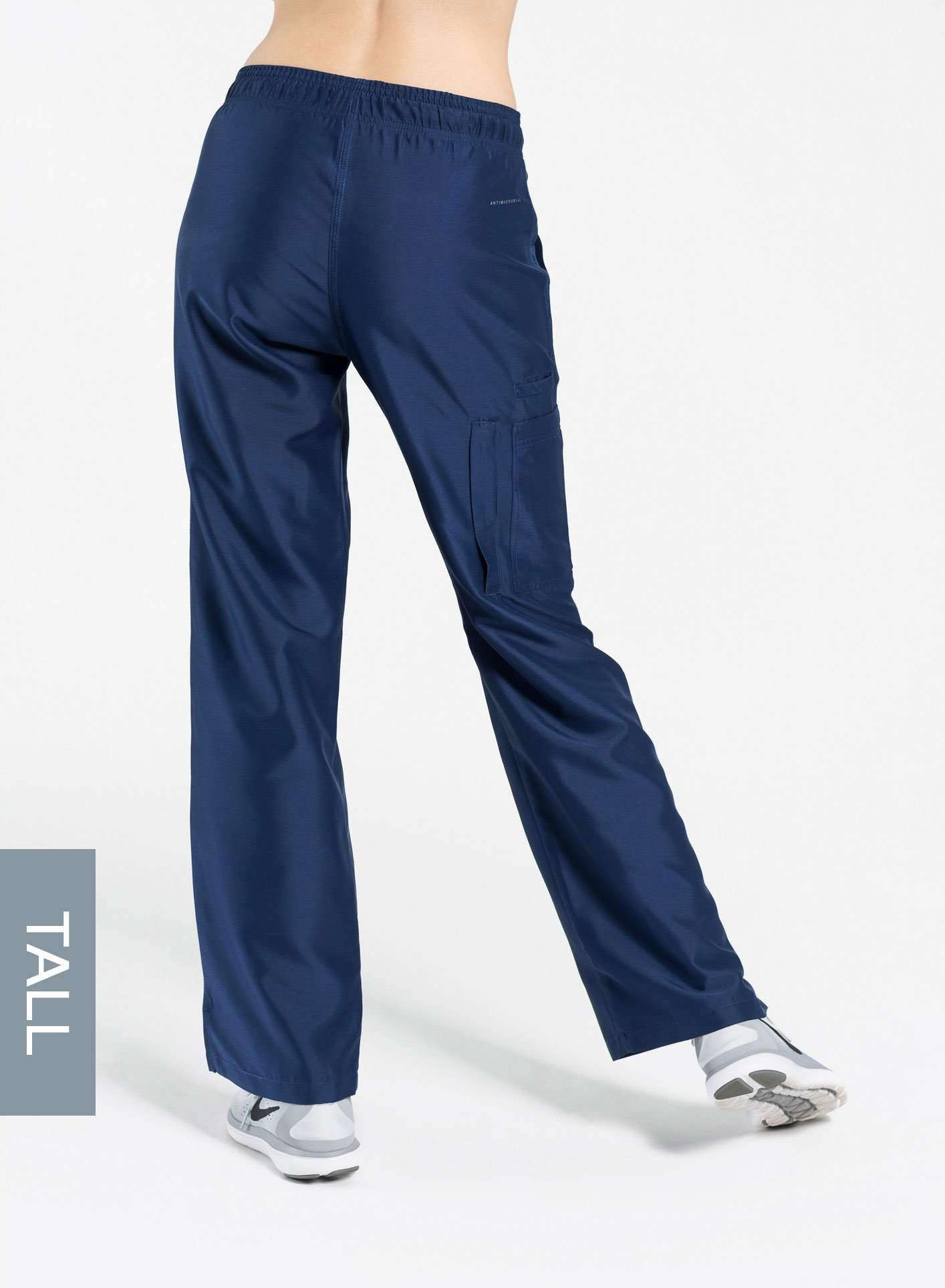 womens tall cargo pocket straight leg scrub pants navy blue Elements back