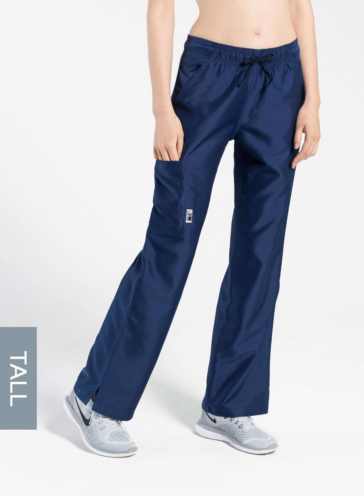 womens tall cargo pocket straight leg scrub pants navy blue Elements front