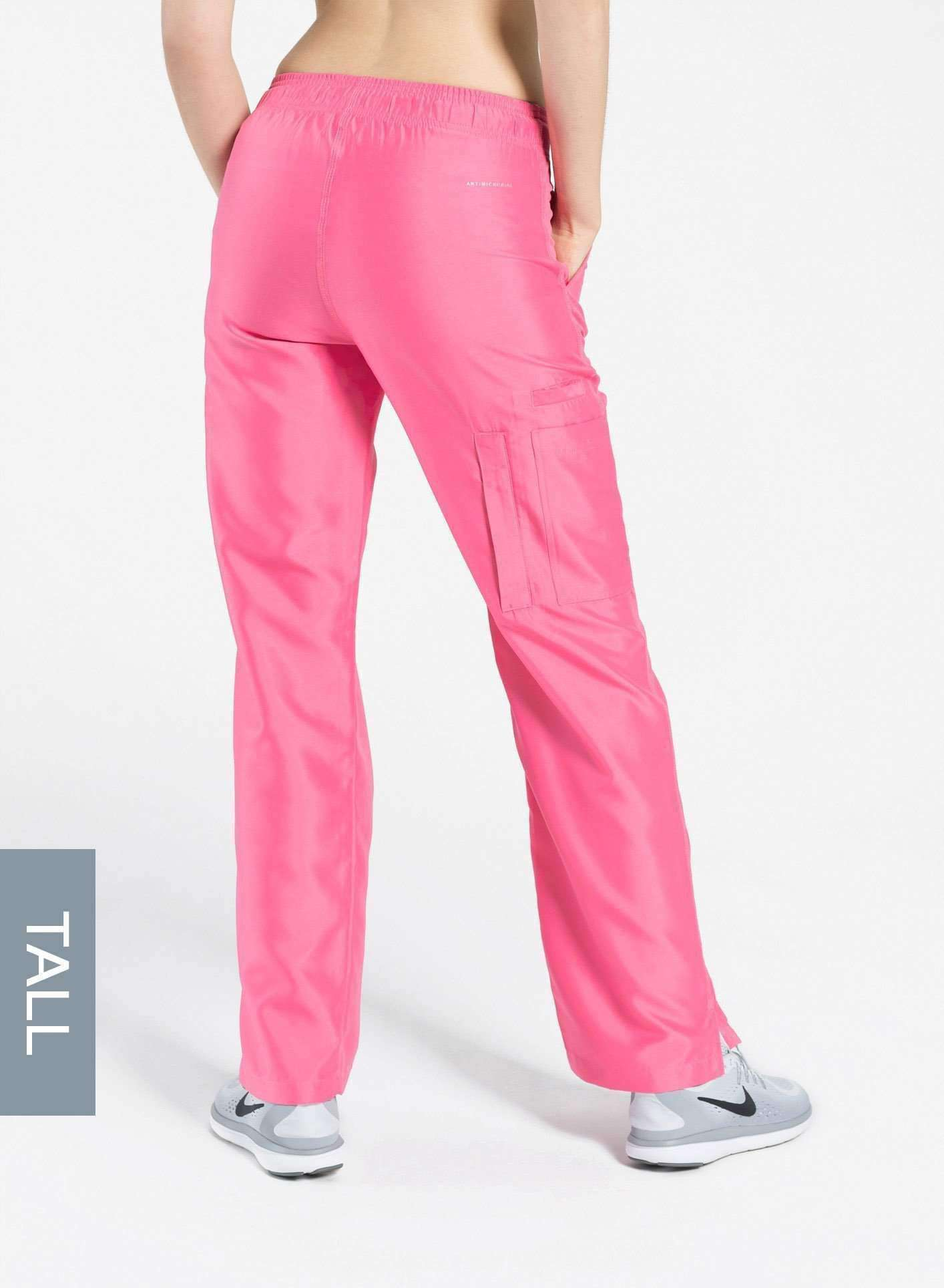 womens tall cargo pocket straight leg scrub pants pink Elements back