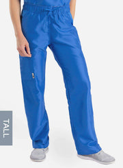 womens tall cargo pocket straight leg scrub pants royal-blue