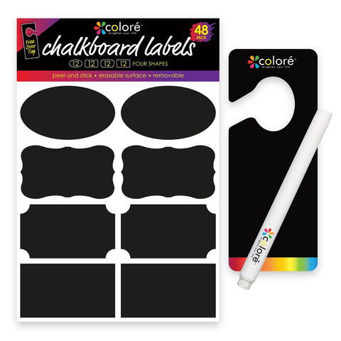 Colore Chalkboard Labels - FREE Chalk Pen & Door Hanger - 48 Pack