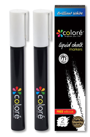Colore Brilliant White Liquid Chalk Markers - 2 Pack