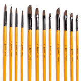 Colore Art Paint Brushes With Nylon Wrapping Case - For Acrylic, Oil & Watercolor - 36 Piece