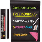 Colore Blackboard Wall Decals - FREE Colored Chalks, Chalk Pen & Wipe Cloth - 2 Rolls