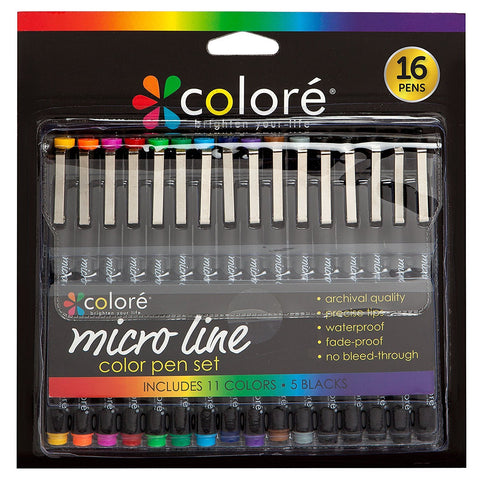 Colore PRECISION Ultra Fine Tip Micro Line Pens – Waterproof & Vibrant Color Inking Pen Set With Variety Nib Sizes (16 Pack)