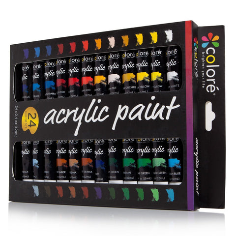 Colore Acrylic Paint Set - Set of 24 Colors