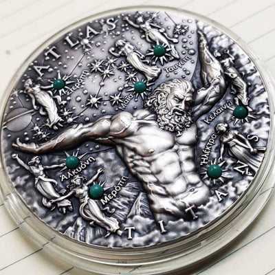 2020 - Atlas Titans 2 oz Two Dollar Ultra High Relief Silver Coin - With Glow In Dark Insert - Niue