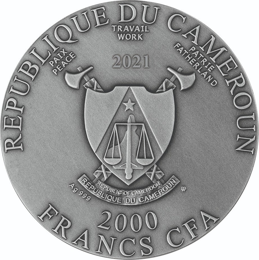 2021 - Christ The Savior - 2 oz High Relief Silver Gilded Coin - Cameroon