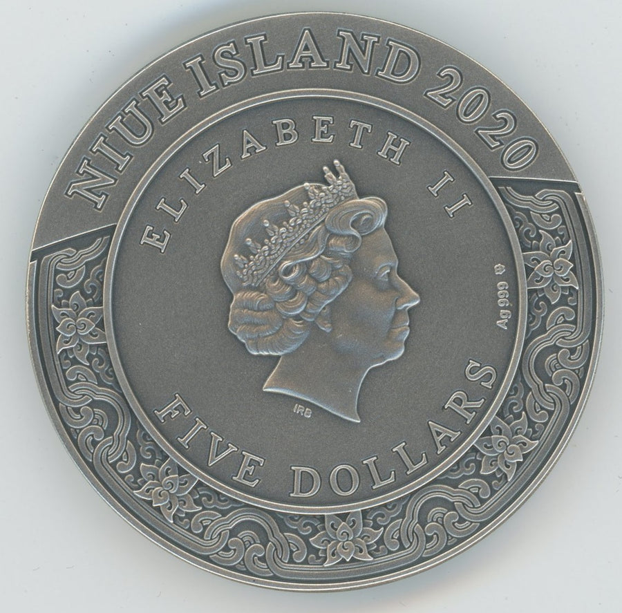 2020 - Duowentian - Vaisravana - Four Heavenly Kings - 2 oz Ultra High Relief Silver Coin - Mint of Poland - Niue