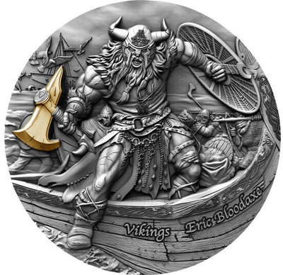 Eric Bloodaxe - Vikings - 2020 Niue 2 oz Silver Coin With Gold Plating - Mint of Poland