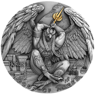 2020 - Horus Gods of Anger 2 oz Silver Coin With Gold Plating - Niue