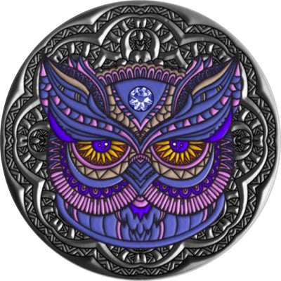 Owl - Mandala Collection - 2020 Niue Silver Coin With Swarovski Crystal