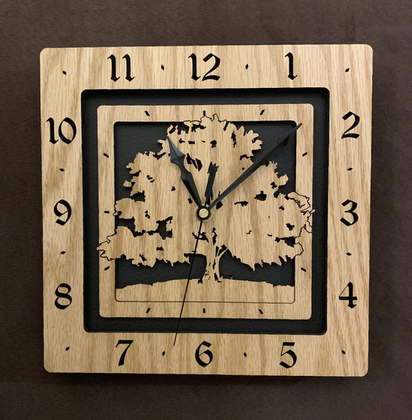 Square Laser-Cut Original Clock Designs in Oak and Walnut