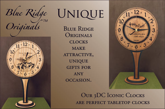 Our original laser-cut clocks make unique, attractive gifts. Our 3DC Iconic Clocks, (round clocks on tall stands) are perfect tabletop or shelf-top clocks.