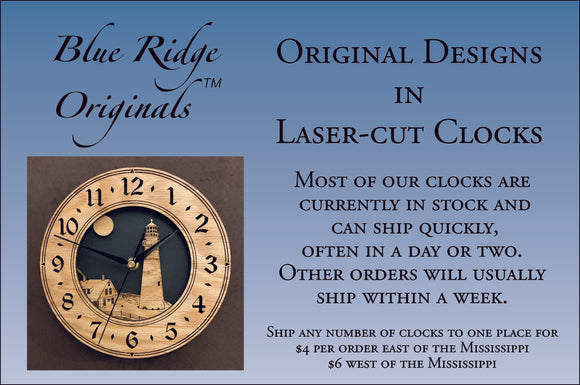 Our clocks, such as the round 3DC oak lighthouse clock shown, can ship quickly and inexpensively.