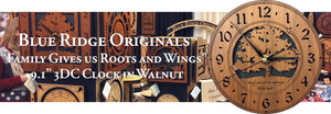 """Family Gives Us Roots and Wings"" 9.1"" 3DC round clock in walnut"