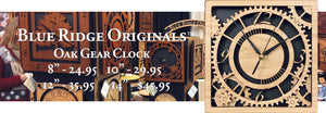 "Oak Gear Clocks in 8"" ($24.95), 10"" ($29.95), 12"" ($35.95), and 14"" ($45.95)"