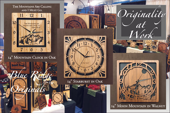 A collage of our lasered clocks with the caption,