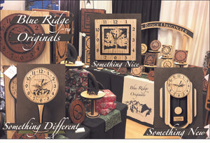 A collage of our original laser-cut clocks - Something Different - Something Nice - Something New