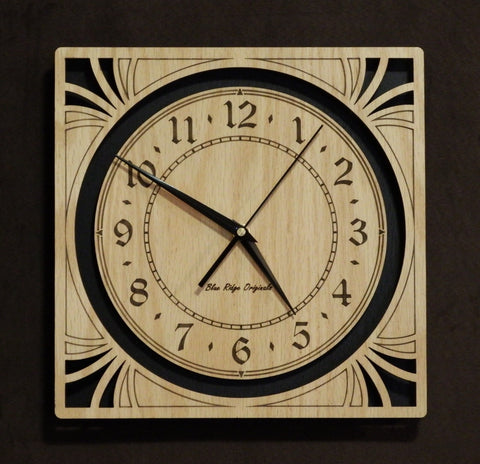 "12"" Oak Sunburst Clock"