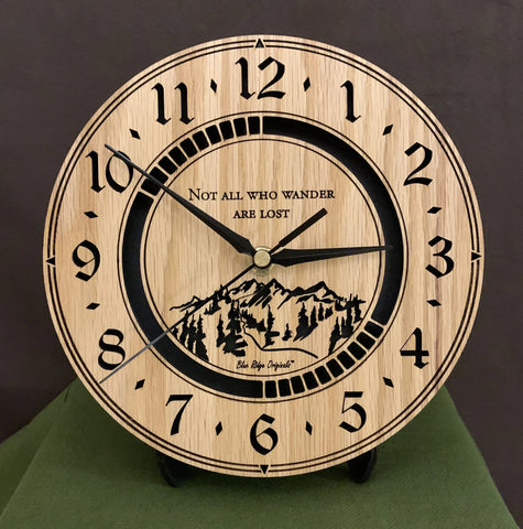 3DC Clock in Oak - Not all Who Wander are Lost