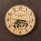 "Round Oak clock with a mountain and the words, ""Not all who wander are lost"" lasered in the face - 6.5"" size"
