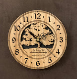 "Round Oak clock with a tree and the words,""May the Peace of God, which transcends all understanding, guard your heart and mind"" lasered in the face - 6.5"" size"