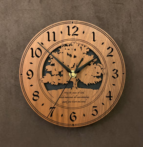 "Round Walnut clock with a tree and the words,""May the Peace of God, which transcends all understanding, guard your heart and mind"" lasered in the face - larger sizes"