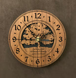 "Round Walnut clock with a tree and the words,""May the Peace of God, which transcends all understanding, guard your heart and mind"" lasered in the face - 6.5"" size"