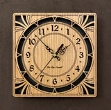 "A square oak clock with cutouts forming a patterned circle around the face and numbers of the clock and cutout flourishes in the corners. Somewhat in an Art Deco style. 8"" size"