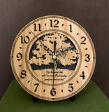 "Round Oak clock with a tree and the words,""May the Peace of God, which transcends all understanding, guard your heart and mind"" lasered in the face - 6.5"" on easel"