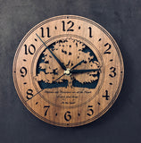 "Round walnut clock with a tree and the words, ""Patience and persistence are at the heart of every good thing"" lasered on face - larger sizes"