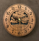 "Round walnut clock with a tree and the words, ""Patience and persistence are at the heart of every good thing"" lasered on face - 6.5"" size"
