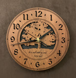 "Round walnut clock with a tree and the words, ""It is well with my soul"" lasered on face - larger sizes"