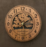 "Round walnut clock with a tree and the words, ""It is well with my soul"" lasered on face - 6.5"" size"