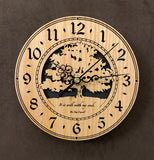 "Round oak clock with a tree and the words, ""It is well with my soul"" lasered on face - 6.5"" size"