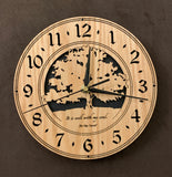 "Round oak clock with a tree and the words, ""It is well with my soul"" lasered on face - larger sizes"