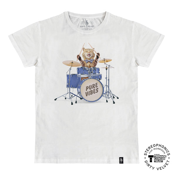 DRUMMER CAT WHITE T-SHIRT