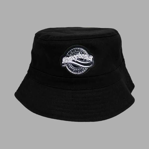 JUST ENOUGH BLACK BUCKET PATCH HAT