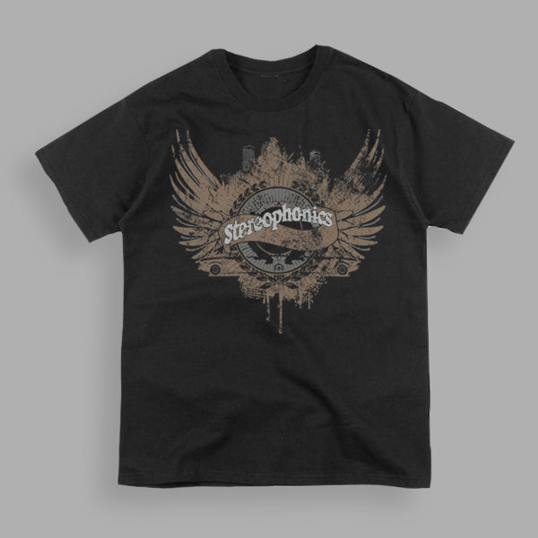 WINGED CREST LOGO BLACK T-SHIRT