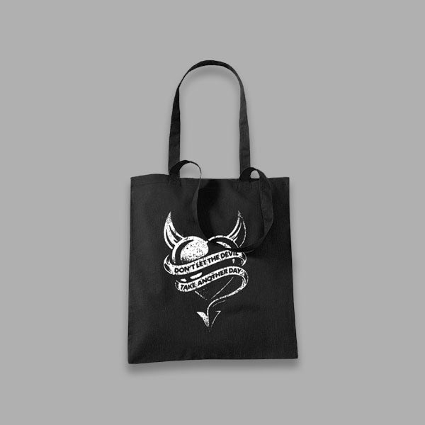 DEVIL HEART BLACK TOTE BAG