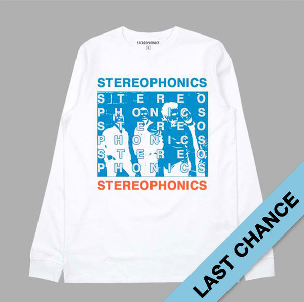 STEREOPHONICS BLUE PHOTO L/S WHITE T-SHIRT