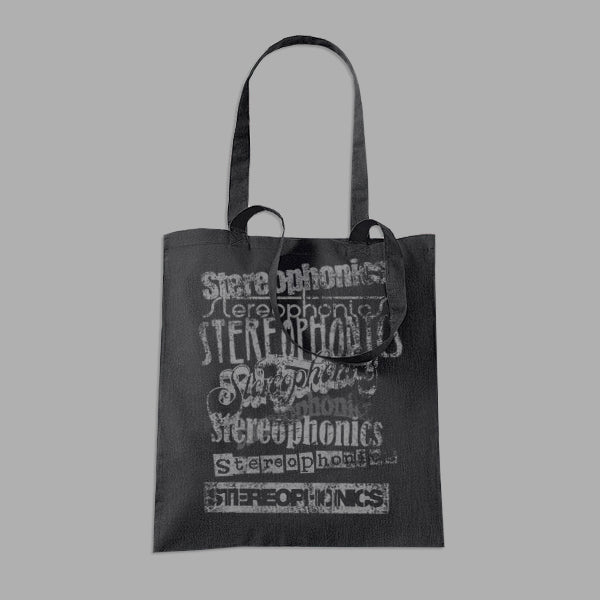 DISTRESSED VINTAGE LOGOS BLACK TOTE BAG