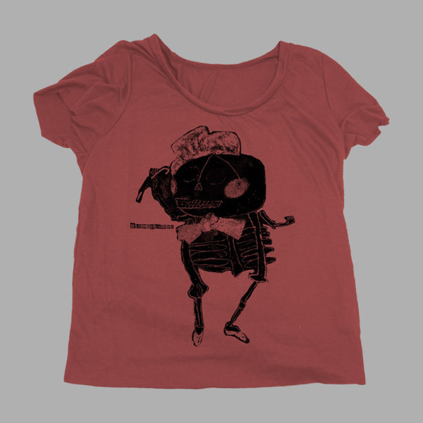 RED SKELETON LADIES SCOOP NECK TSHIRT