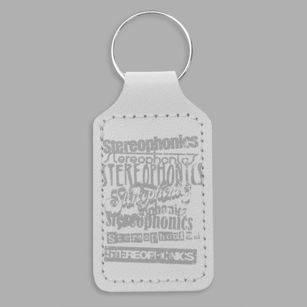 VINTAGE LOGOS WHITE LEATHER KEYRING