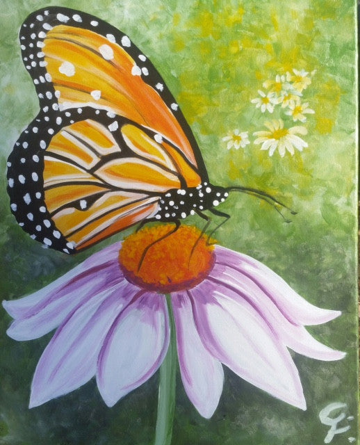 "Apr 2, 2017, Sun, 2-4 pm, ""Bugs 'n Blooms"" Public Wine & Paint Class in Atlanta / Sandy Springs"
